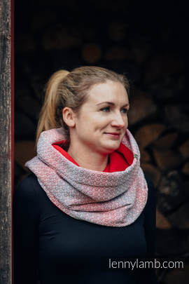 Snood Scarf with Fleece - LITTLE LOVE - HAZE & RED