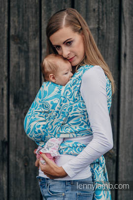 Baby Wrap, Jacquard Weave (100% cotton) - TWISTED LEAVES CREAM & TURQUOISE - size M