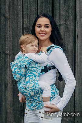 Ergonomic Carrier, Baby Size, jacquard weave 100% cotton - TWISTED LEAVES CREAM & TURQUOISE - Second Generation