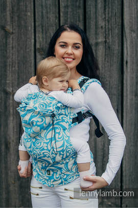 Ergonomic Carrier, Toddler Size, jacquard weave 100% cotton - wrap conversion from TWISTED LEAVES CREAM & TURQUOISE - Second Generation