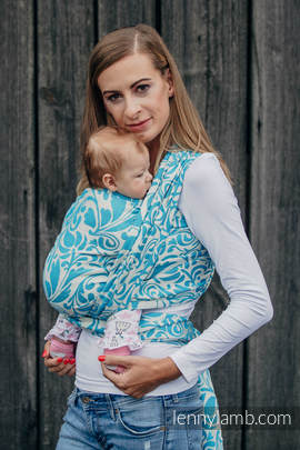 Baby Wrap, Jacquard Weave (100% cotton) - TWISTED LEAVES CREAM & TURQUOISE - size S
