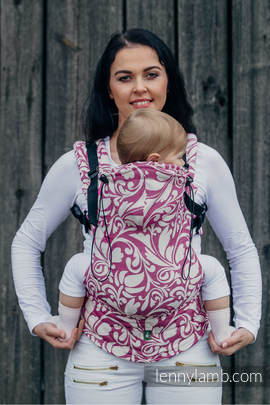 Ergonomic Carrier, Toddler Size, jacquard weave 100% cotton - wrap conversion from TWISTED LEAVES CREAM & PURPLE - Second Generation