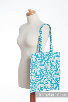 Shopping bag made of wrap fabric (100% cotton) - TWISTED LEAVES CREAM & TURQUOISE