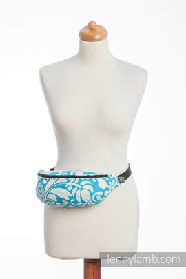 Waist Bag made of woven fabric, (100% cotton) - TWISTED LEAVES CREAM & TURQUOISE