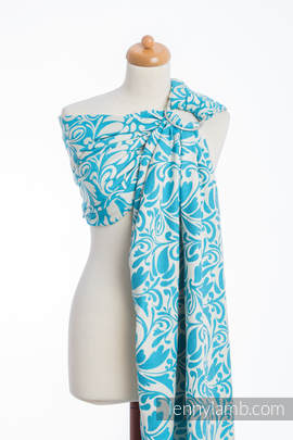 Ringsling, Jacquard Weave (100% cotton) - TWISTED LEAVES CREAM & TURQUOISE