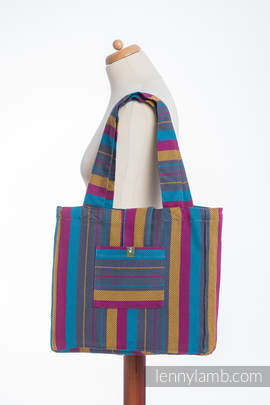 Shoulder bag made of wrap fabric (100% cotton) - LITTLE HERRINGBONE NIGHTLIGHTS - standard size 37cmx37cm