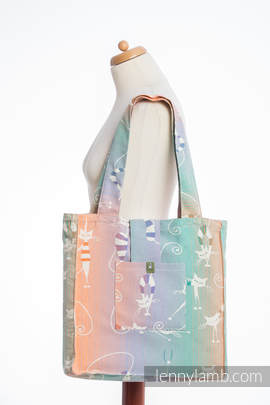 Shoulder bag made of wrap fabric (100% cotton) - PLAYFUL CATS - standard size 37cmx37cm