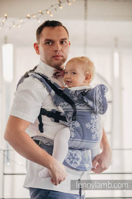 Ergonomic Carrier, Baby Size, jacquard weave 80% cotton, 20% merino wool - wrap conversion from WARM HEARTS NAVY BLUE & WHITE, Second Generation