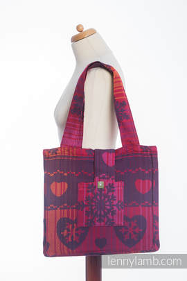 Shoulder bag made of wrap fabric (100% cotton) - WARM HEARTS WITH CINNAMON  - standard size 37cmx37cm (grade B)