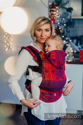 Ergonomic Carrier, Toddler Size, jacquard weave 100% cotton - wrap conversion from WARM HEARTS WITH CINNAMON  - Second Generation