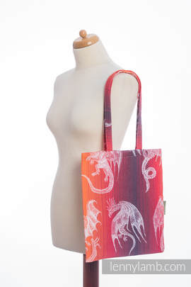 Shopping bag made of wrap fabric (100% cotton) - DRAGON ORANGE & RED - standard size 33cmx39cm