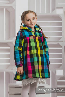 Girls Coat - size 116 - DIAMOND PLAID with Black