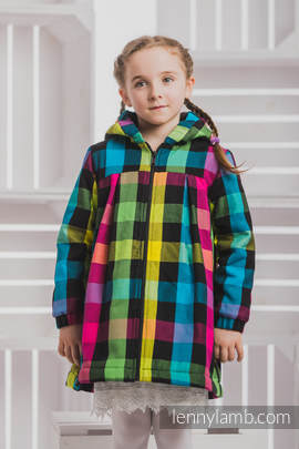 Girls Coat - size 134 - DIAMOND PLAID with Black