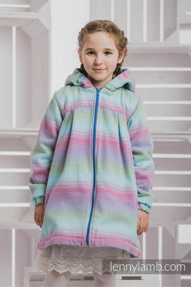 Girls Coat - size 116 - LITTLE HERRINGBONE IMPRESSION with Blue
