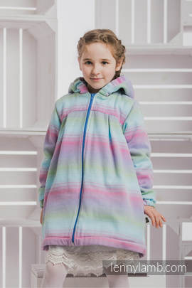 Girls Coat - size 134 - LITTLE HERRINGBONE IMPRESSION with Blue