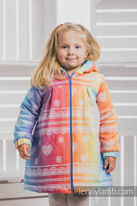 Girls Coat - size 116 - RAINBOW LACE with Blue (grade B)