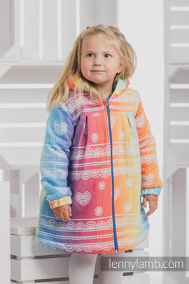 Girls Coat - size 134 - RAINBOW LACE with Blue (grade B)