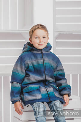 Boys Coat - size 116 - LITTLE HERRINGBONE ILLUSION with Black