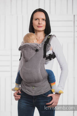 Ergonomic Carrier, Baby Size, herringbone weave 100% cotton - wrap conversion from LITTLE HERRINGBONE BLACK - Second Generation