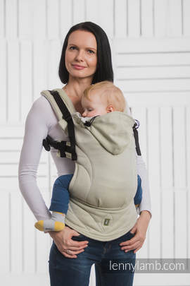 Ergonomic Carrier, Toddler Size, herringbone weave 100% cotton - wrap conversion from LITTLE HERRINGBONE OLIVE GREEN - Second Generation