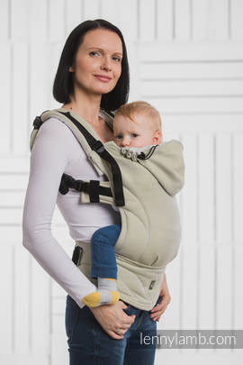 Ergonomic Carrier, Baby Size, herringbone weave 100% cotton - wrap conversion from LITTLE HERRINGBONE OLIVE GREEN - Second Generation