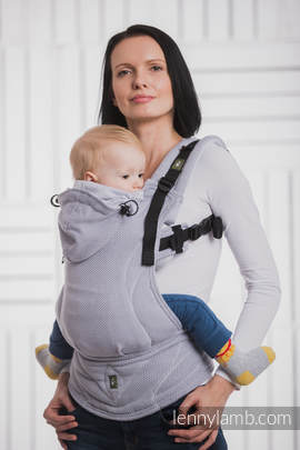 Ergonomic Carrier, Baby Size, herringbone weave 100% cotton - wrap conversion from LITTLE HERRINGBONE GREY - Second Generation