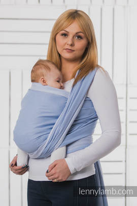 Baby Wrap, Herringbone Weave (100% cotton) - LITTLE HERRINGBONE BLUE - size XL