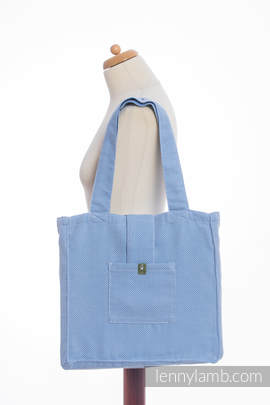 Shoulder bag made of wrap fabric (100% cotton) - LITTLE HERRINGBONE BLUE - standard size 37cmx37cm