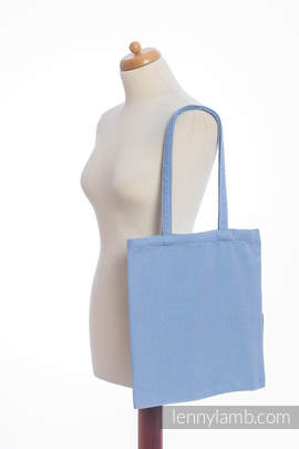Shopping bag made of wrap fabric (100% cotton) - LITTLE HERRINGBONE BLUE
