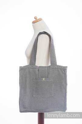 Shoulder bag made of wrap fabric (100% cotton) - LITTLE HERRINGBONE BLACK - standard size 37cmx37cm