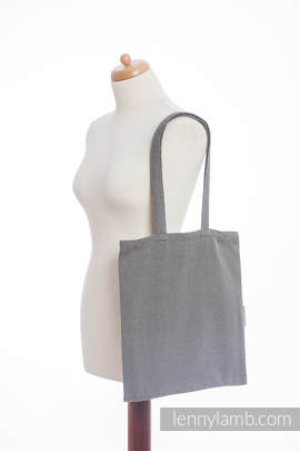 Shopping bag made of wrap fabric (100% cotton) - LITTLE HERRINGBONE BLACK