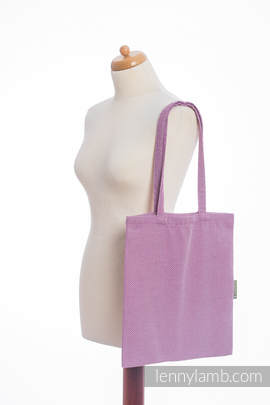 Shopping bag made of wrap fabric (100% cotton) - LITTLE HERRINGBONE PURPLE
