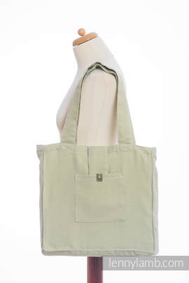 Shoulder bag made of wrap fabric (100% cotton) - LITTLE HERRINGBONE OLIVE GREEN  - standard size 37cmx37cm