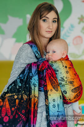 Baby Wrap, Jacquard Weave (100% cotton) - DRAGONFLY RAINBOW DARK - size S (grade B)
