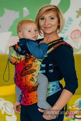 Ergonomic Carrier, Baby Size, jacquard weave 100% cotton - wrap conversion from DRAGONFLY RAINBOW DARK - Second Generation