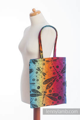 Shopping bag made of wrap fabric (100% cotton) - DRAGONFLY RAINBOW DARK