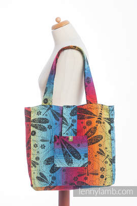 Shoulder bag made of wrap fabric (100% cotton) - DRAGONFLY RAINBOW DARK - standard size 37cmx37cm