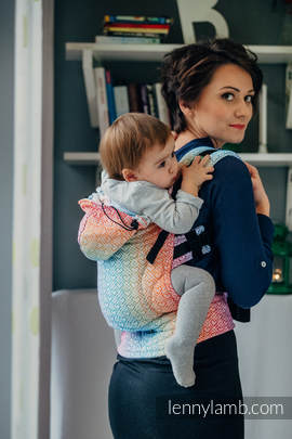 Ergonomic Carrier, Baby Size, jacquard weave 100% cotton - BIG LOVE - RAINBOW - Second Generation