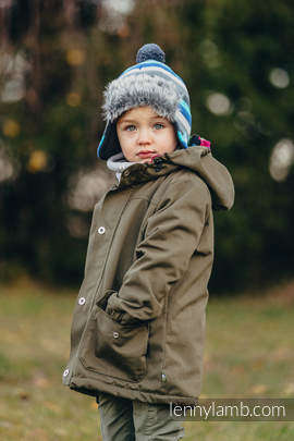 Parka Coat for Kids - size 134 - Khaki & Diamond Plaid