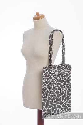 Shopping bag made of wrap fabric (100% cotton) - GIRAFFE DARK BROWN & CREME