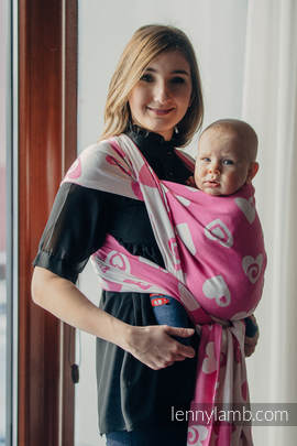 Baby Wrap, Jacquard Weave (100% cotton) - SWEETHEART PINK and CREME 2.0 - size L (grade B)
