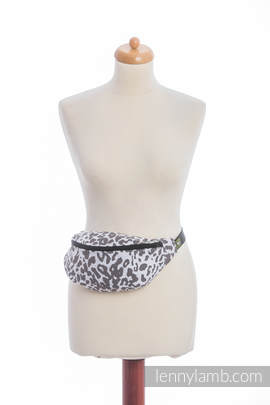 Waist Bag made of woven fabric, (100% cotton) - CHEETAH DARK BROWN & WHITE
