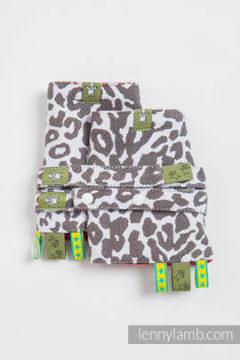 Drool Pads & Reach Straps Set, (100% cotton) - CHEETAH DARK BROWN & WHITE