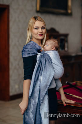 Ringsling, Jacquard Weave (100% cotton) - with gathered shoulder - MOONLIGHT WOLF (grade B)