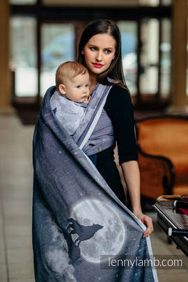 Baby Wrap, Jacquard Weave (100% cotton) - MOONLIGHT WOLF - size L (grade B)