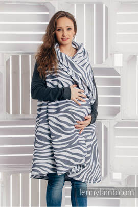 Long Cardigan - size L/XL - Zebra Graphite & White