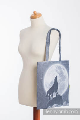 Shopping bag made of wrap fabric (100% cotton) - MOONLIGHT WOLF
