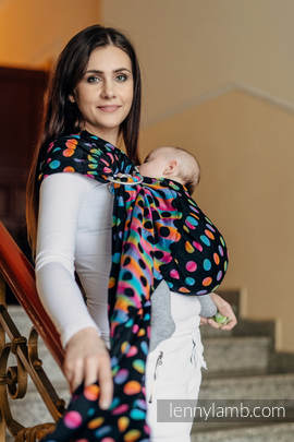 Ringsling, Jacquard Weave (100% cotton) - with gathered shoulder - POLKA DOTS RAINBOW DARK