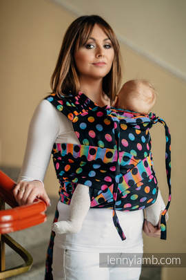 WRAP-TAI carrier Toddler with hood/ jacquard twill / 100% cotton / POLKA DOTS RAINBOW DARK