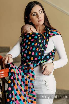 Baby Wrap, Jacquard Weave (100% cotton) - POLKA DOTS RAINBOW DARK - size L